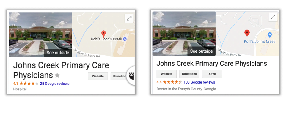 John's Creek Primary Care - Review Page Screen Shot